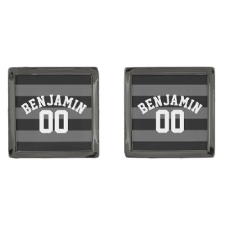 Black and Gray Silver Rugby Stripes Name Number Gunmetal Finish Cufflinks