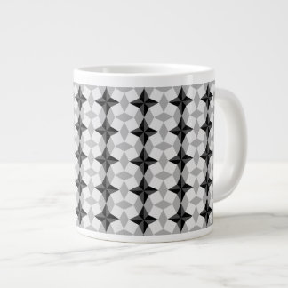 Black and Gray Starbust and Rhombus Pattern Giant Coffee Mug