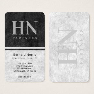 Black and Gray Stone Texture Monogram Accountant Business Card
