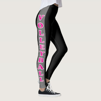 Black and Gray Stripe with Hot Pink Volleyball Leggings