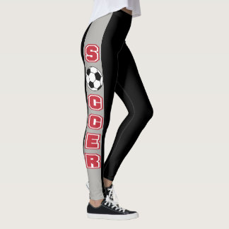 Black and Gray Stripe with Red Soccer Leggings