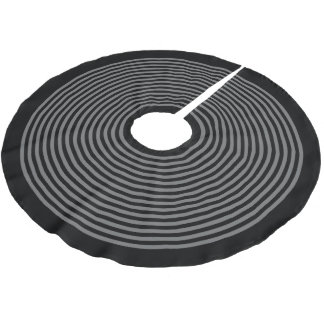 Black and Gray Striped Christmas Brushed Polyester Tree Skirt
