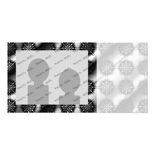 Black and Gray Stylish Elegant Pattern. Photo Card