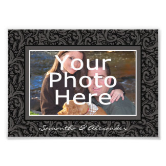 Black and Gray Swirl Elegant Photo Border w/Text