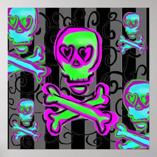 Black and Gray Swirls with Neon Skulls Poster