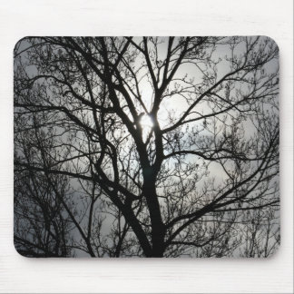 Black and Gray Tree Mouse Pad