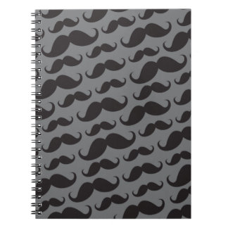 Black and gray trendy funny mustache pattern spiral notebook