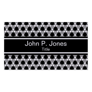 Black and Gray Triangle Hex Pattern Business Card