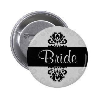 Black and gray victorian damask bride wedding 6 cm round badge