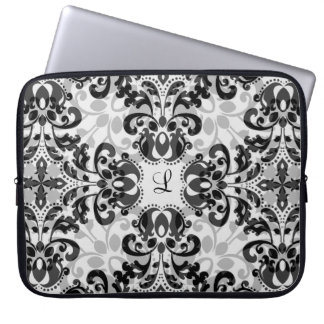 Black and gray victorian damask decor 15 inch laptop sleeve