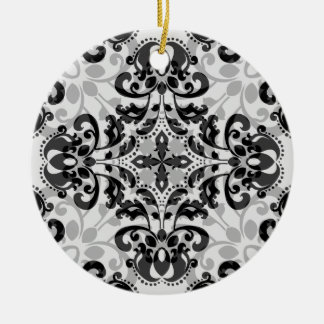 Black and gray victorian damask decor christmas ornament