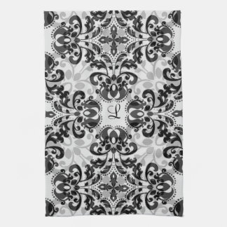 Black and gray victorian damask decor tea towel