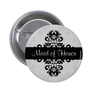 Black and gray victorian damask maid of honor 6 cm round badge