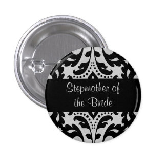 Black and gray victorian damask stepmother bride 3 cm round badge