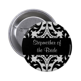 Black and gray victorian damask stepmother bride 6 cm round badge