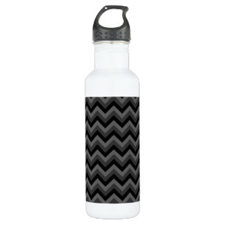 Black and Gray Zig Zag Pattern. 710 Ml Water Bottle