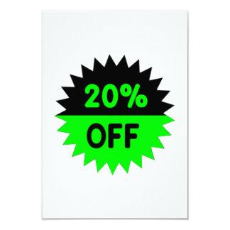 Black and Green 20 Percent Off 3.5x5 Paper Invitation Card