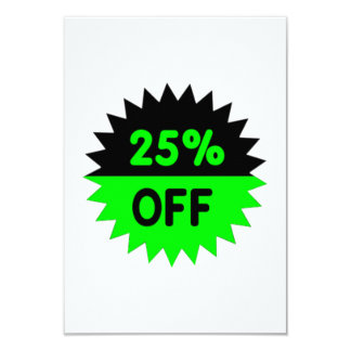 Black and Green 25 Percent Off 9 Cm X 13 Cm Invitation Card