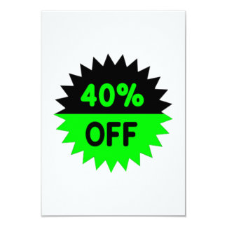 Black and Green 40 Percent Off 3.5x5 Paper Invitation Card
