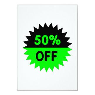 Black and Green 50 Percent Off 3.5x5 Paper Invitation Card