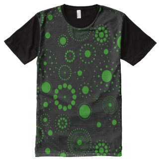 Black And Green Abstract Circles And Stars Pattern All-Over Print T-Shirt