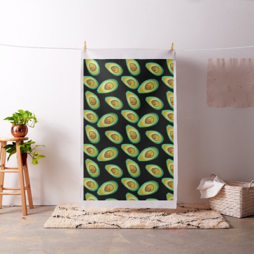 Black and Green avocado Pattern Fabric