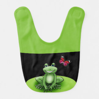 "Black and green bib apple ""Froggy the frog """