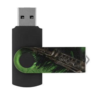 Black and Green Clarinet USB Flash Drive