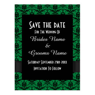 Black and green damask save the date postcard