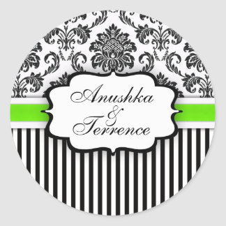 Black and Green Damask Stripe Wedding Sticker