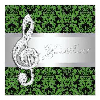 """Black and Green Damask Treble Clef Recital 5.25"""" Square Invitation Card"""