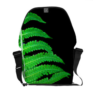 Black and Green Fern Messenger Bag