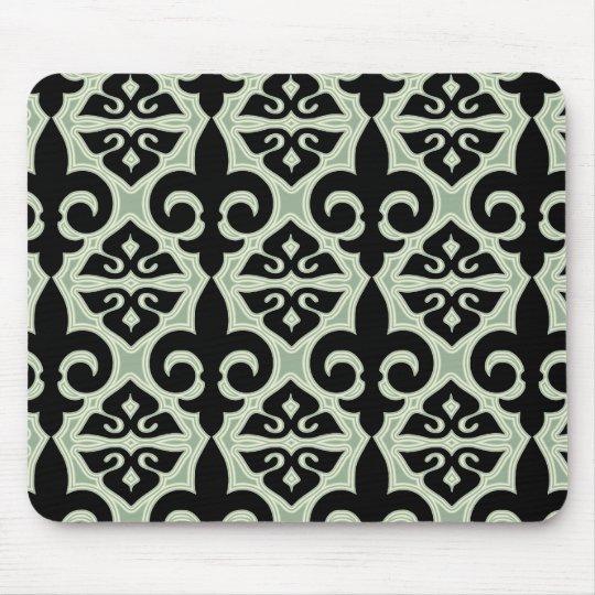 Black and Green Fleur De Lis Pattern Mouse Mat