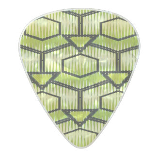 Black and Green Geometric Pearl Celluloid Guitar Pick