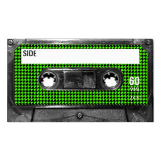 Black and Green Houndstooth Label Cassette Business Card