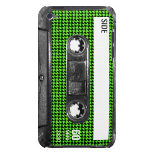 Black and Green Houndstooth Label Cassette Barely There iPod Cover