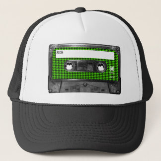 Black and Green Houndstooth Label Cassette Trucker Hat
