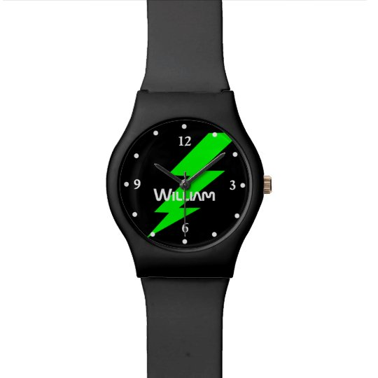 Black and Green Lightening Bolt Custom Watch