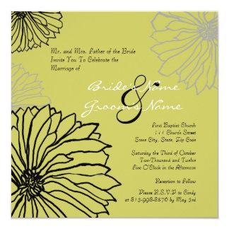 Black and Green Mum Flowers Wedding Invitation