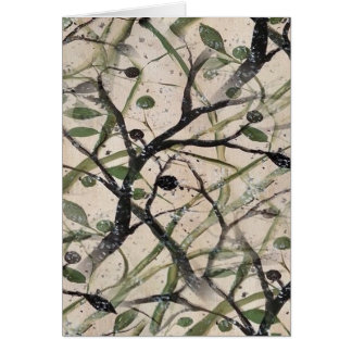 Black And Green Olive Tree Digital Abstract Greeting Card