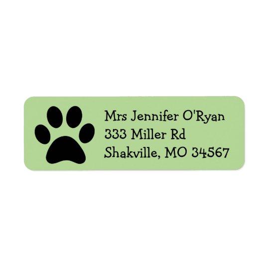 Black and Green Paw Print Return Address Label