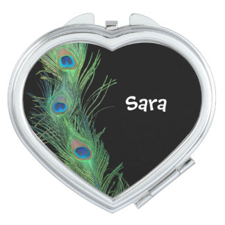 Black and Green Peacock Feathers Compact Mirrors
