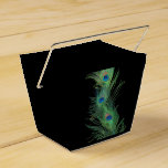 Black and Green Peacock Feathers Wedding Favour Box