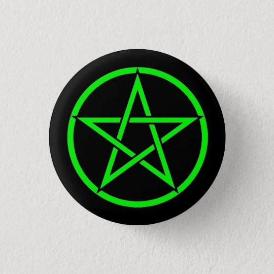 Black and Green Pentacle Pentagram Button Badge