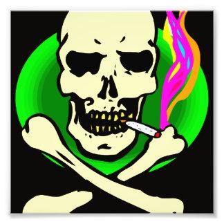 black and green skull and bones smoking photograph