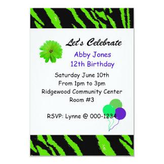 Black and Green Tiger Pattern Birthday Invitation