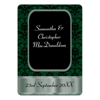 Black and green wedding favor thank you tag business card templates