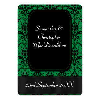 Black and green wedding favor thank you tag business cards