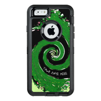 Black and Green Whirlwind OtterBox Defender iPhone Case