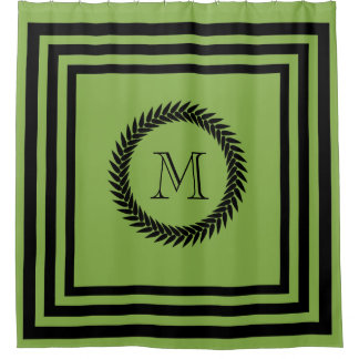 Black and GREENERY Fancy Monogram Shower Curtain